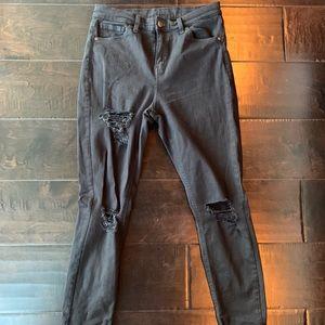 Top Shop Moto black rip jeans high rise
